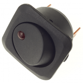 SPST Circular Rocker Switch with Red LED